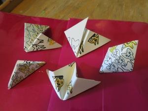 Amy Wong, zongzi, hand printed folded paper.